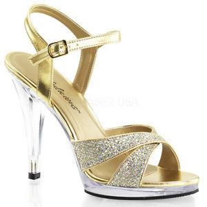 Shoes - High Heel Platform Criss Cross Glitter Shoes Gold